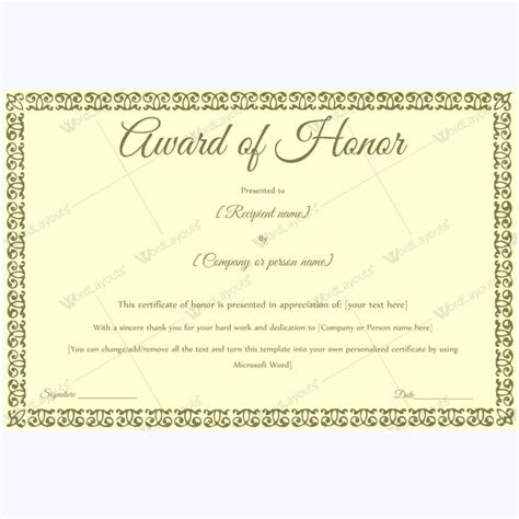 of honor card template 15 best award of honor certificate templates images on
