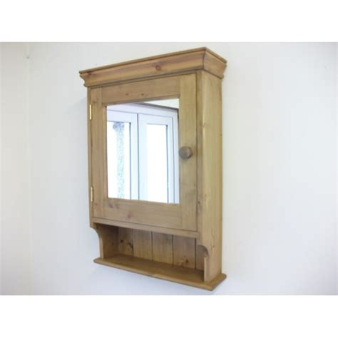 pine bathroom cabinet with mirrored door w47cm