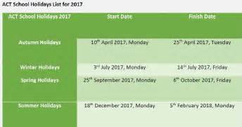 Calendar 2018 Canberra Act School Holidays 2017 Act Terms And School Holidays