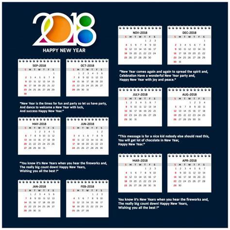 Calendar Template 2018 Psd Calendar Template For 2018 Vector Free