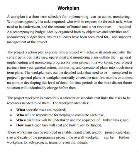 18 Sle Work Plan Templates To Download Sle Templates Construction Work Plan Template