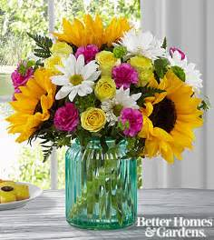 Aqua Blue Glass Vases The Ftd 174 Sunlit Meadows Bouquet By Better Homes And