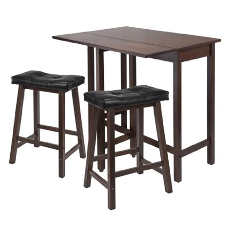 winsome lynnwood drop leaf kitchen table with 2 cushion