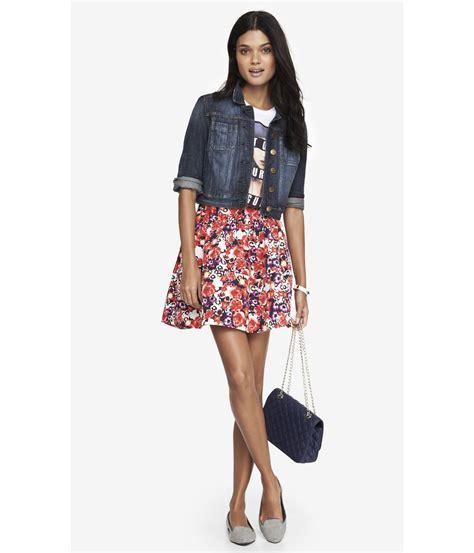flower patterned mini skirt express high waist full mini skirt floral in multicolor