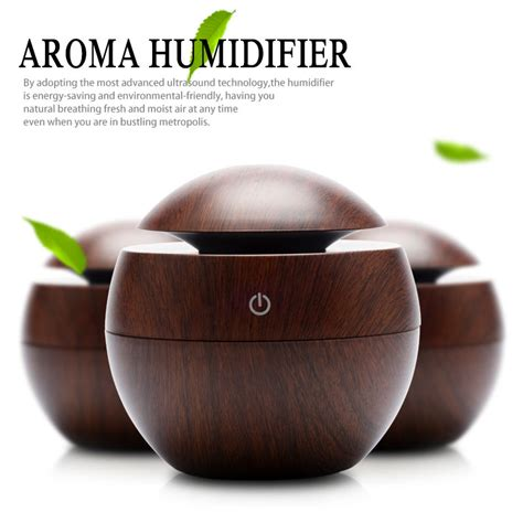 Aroma Therapy Air Humidifier Wood Flower mini wooden aromatherapy humidifier aroma diffuser air purifier color changing led ultrasonic