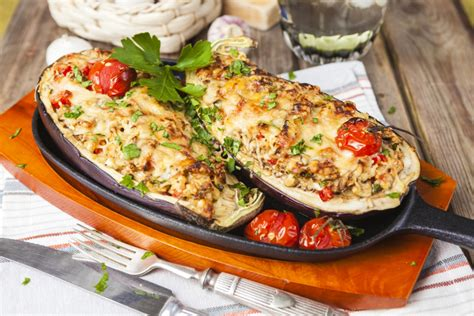 stuffed eggplant vegetarian recipes cheesy stuffed eggplant 12 tomatoes