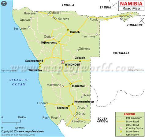 printable road map of namibia namibia road map