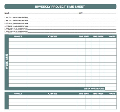 time card template project biweekly timesheet template word