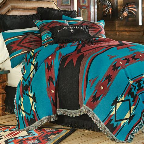 turquoise coverlet king western bedding king size turquoise flame tapestry