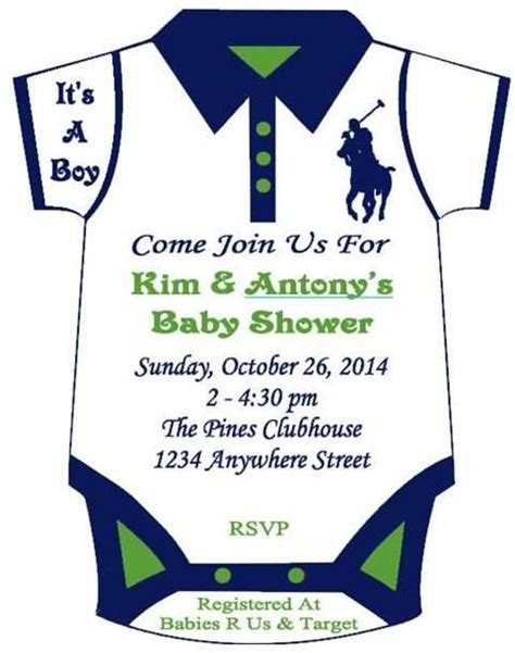 T Shirt Baby Shower Invitations by Polo Themed Onesie Baby Shower Invitation By