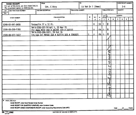 us army hand receipt exle
