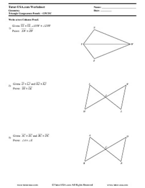 Triangle Congruence Proofs Worksheet by Worksheet Triangle Congruence Proofs Cpctc
