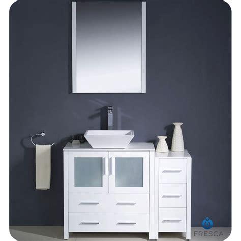 42 inch sink vanity fresca torino 42 quot white modern bathroom vanity vessel sink