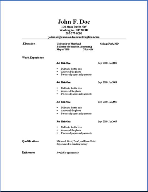 exle of simple resume format basic resume templates resume templates