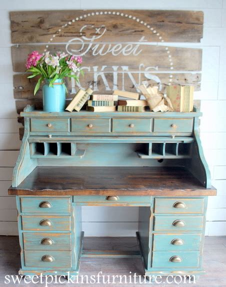 Secretary Desk With Hutch Antique Before Amp After Milk Paint Roll Top Sweet Pickins