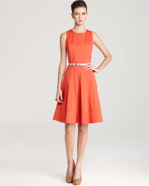 anne klein swing dress anne klein dress sleeveless belted swing dress in orange