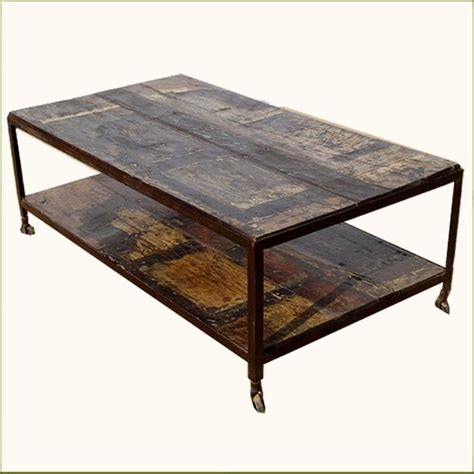 Rustic Walnut Coffee Table Rustic Walnut Weathered Two Tier Coffee Table On Rollers Contemporary Coffee Tables