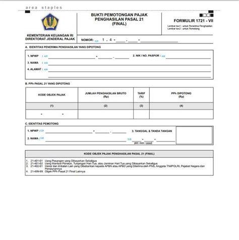 format surat kuasa potong gaji bukti potong pph 21 dan ketentuan yang berlaku cermati
