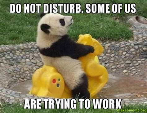 Not Working Meme - do not disturb some of us are trying to work make a meme
