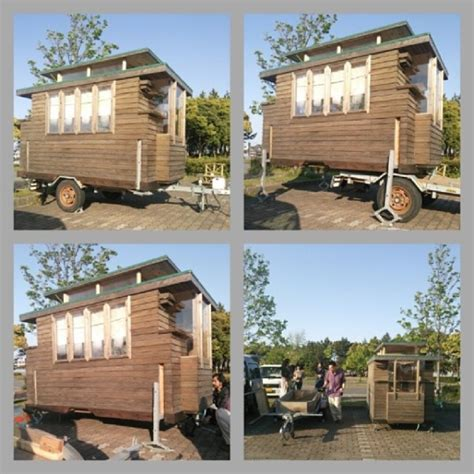 pop up tiny house man in japan builds micro diy tiny house on wheels