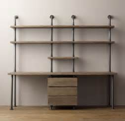 Shelving Desk Industrial Pipe Double Desk Amp Shelving With Drawers