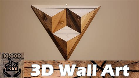 diy  illusion geometric triangle wooden wall art