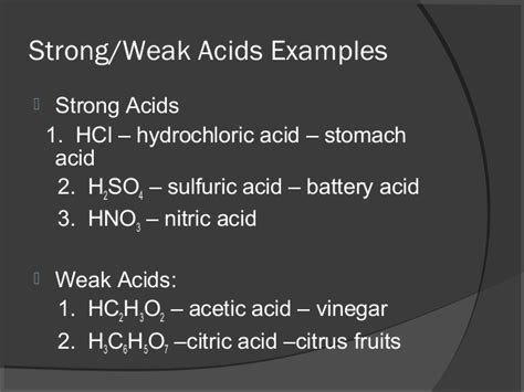exle of weak acid acid bases and salt for class 10th created to piyush