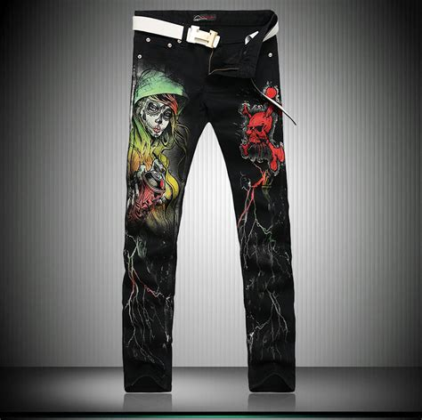 men s fashion slim skull guitar pattern printed short new european cool famous jeans for men printed jeans with