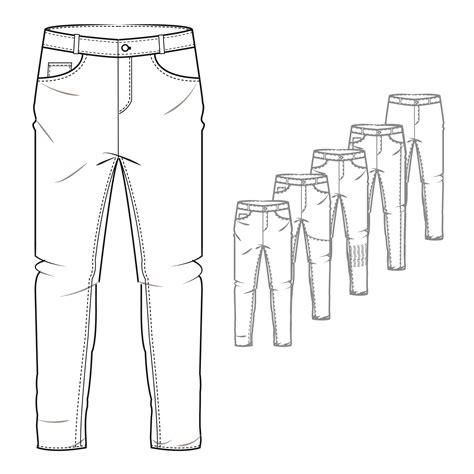Men S Denim Jeans Style Trouser Technical Drawing Portfolio Ideas Pinte Technical Flat Template