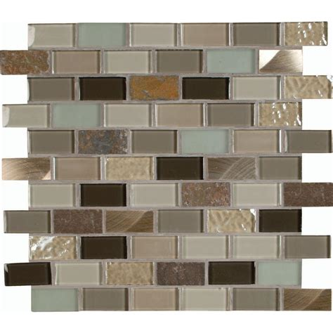 Autumn Leaves 12 In X 12 In X 8 Mm Glass Stone Metal Home Depot Mosaic Backsplash