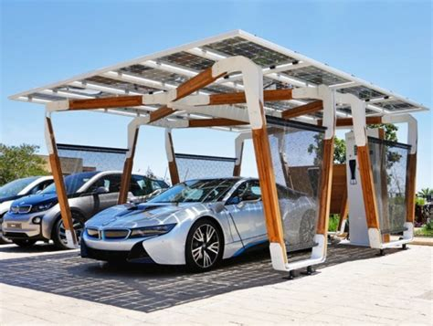 bamboo carport bmw unveils solar powered bamboo carport that charges