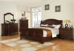 cameron sleigh bedroom set cherry finish
