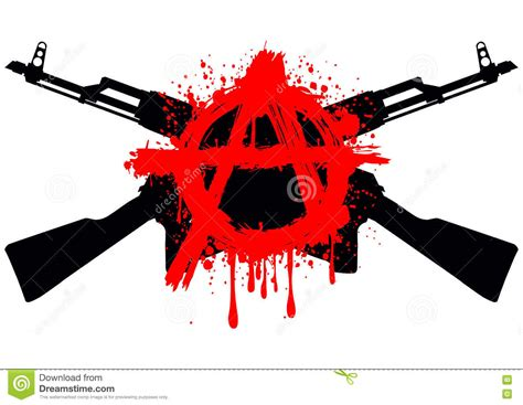 ak47 symbol anarchy stock vector image of weapon punk