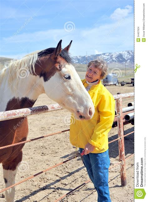 horse outside female rancher stock images image 34407924