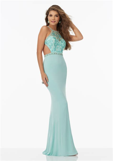beaded bodice prom dress fitted jersey prom dress with beaded embroidered bodice