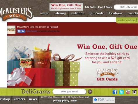 Mcalister S Deli Gift Card - mcalister s deli win one gift one sweepstakes