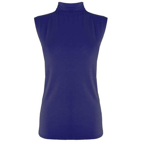Sleeveless Shirt 8 womens polo turtle high neck t shirt bodycon vest sleeveless plain top ebay