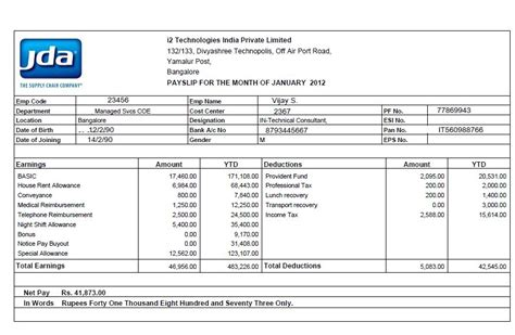 Payment Slip Template Excel by Salary Pay Slip In Excel Format Get Salary Slip Format
