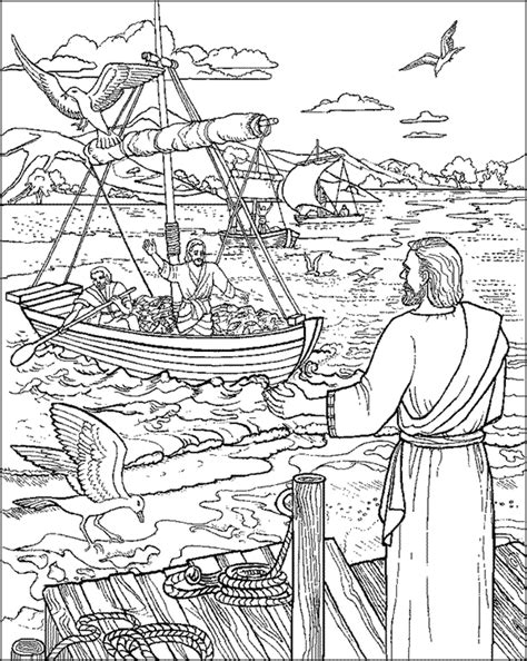 coloring pages jesus fish disciples fishers of coloring pages