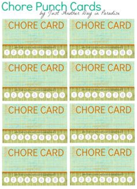 picture chore card template punch cards chores for taking a