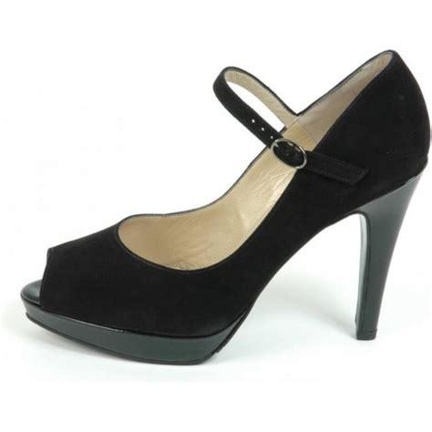 kaiser periko peep toe high heel black suede
