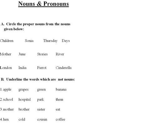 Nouns And Pronouns Worksheet by Nouns Pronouns 1
