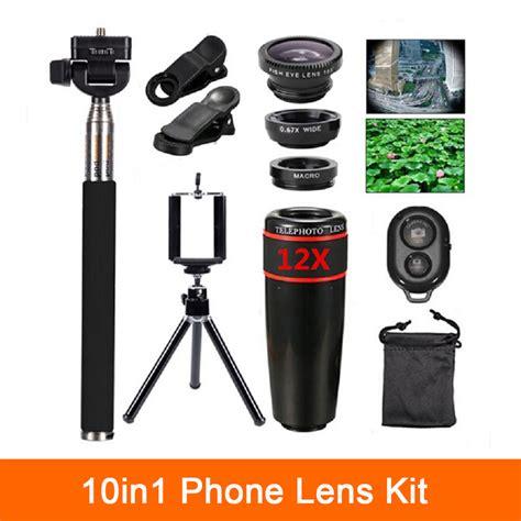 Wide Lens Hitam Selfie Lens Fish Eye Lens 10in1 kit lenses 12x telephoto lens fisheye lens wide angle macro lentes selfie stick remote