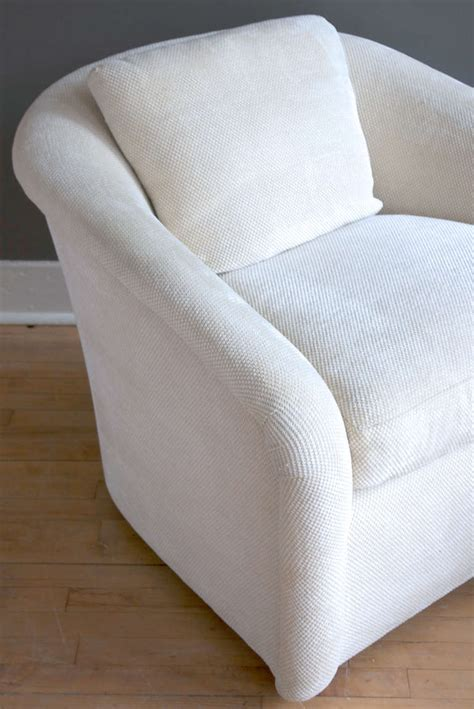 barrel style swivel chair pair of barrel back swivel chairs in the style of milo baughman at 1stdibs