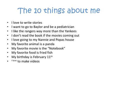 Things I About Me 10 things about me