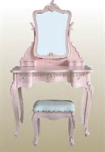 Vintage Childrens Vanity Pink Dressing Table Mirror And Stool