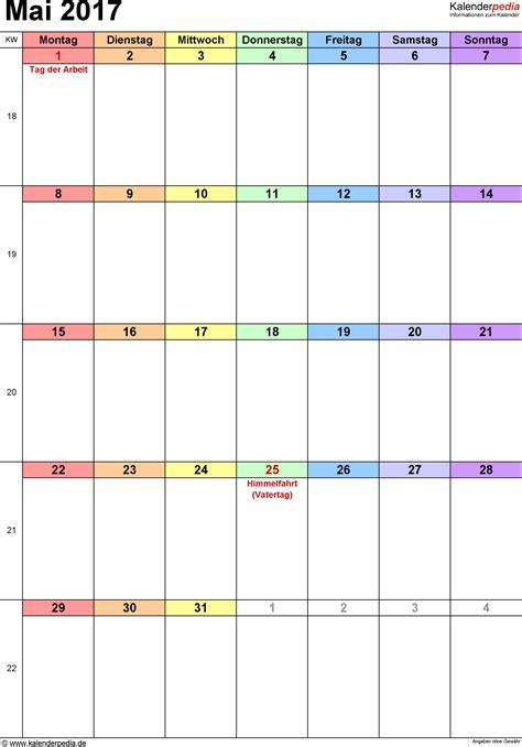 Mai Kalender 2017 Kalender Mai 2017 Als Excel Vorlagen