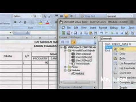 membuat form di ms excell cara membuat aplikasi form sederhana di ms excel youtube
