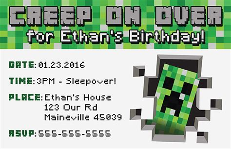 Free Minecraft Printable Invitation Free Printable Minecraft Birthday Invitations Templates