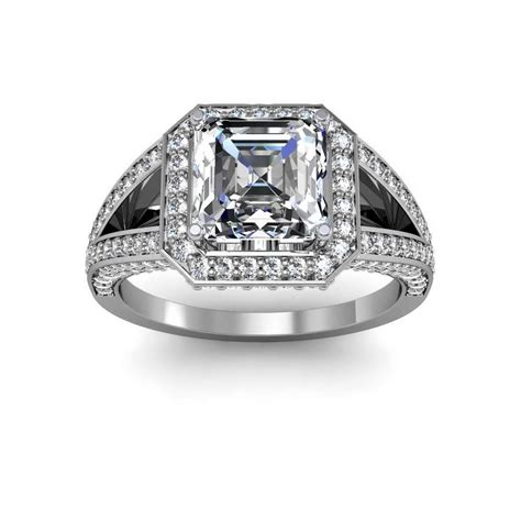 Side Accent Halo Ring 1216 split shank pave w side accent halo diamonds